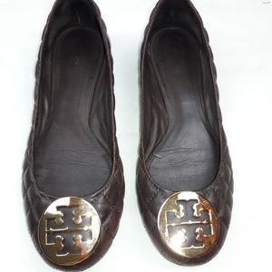 Tory Burch 8 Quilted Brown Leather Ballet Flat